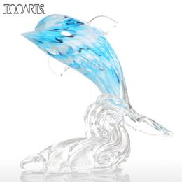Animaux de verre modernes en Ligne-Tooarts Bleu Dauphin Statuettes Décoration de La Maison Accessoires Verre Ornement Animal Figurine Moderne Décor Bleu Blanc