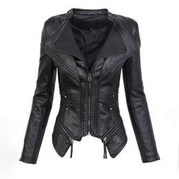 moda gótica talla grande Rebajas Negro gótico de piel sintética de la PU de la chaqueta de las mujeres del invierno otoño de la moda de la motocicleta chaqueta de la chaqueta punky de la cremallera prendas de vestir exteriores más tamaño otoño capa