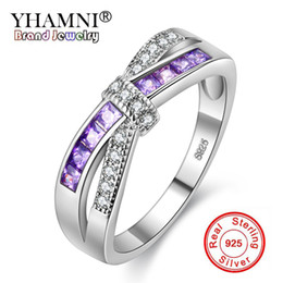 Wholesale sterling silver blue diamond rings - YHAMNI Silver Rings for Women Engagement Wedding Ring Purple Pink Blue Diamond Rings Pure 925 Sterling Silver Fashion Jewelry Q-J004