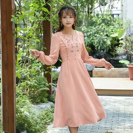 Wholesale Empire Waist Casual Dress - Autumn spring dress for women Slim High waist Casual Floral Embroidery V neck dress Orange color