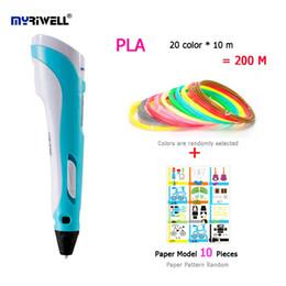 Myriwell 2nd 3D Kalem Çok Renkli PLA Filament (20 renk * 10 m) Kağıt Modeli 10 Parça Düşük Isı Yapımı Doodle Sanatlar El Sanatları nereden