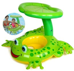 Wholesale frog floats - Swim Ring On Holiday Frog sunshade Floating Summer Kids Child Seat Inflatable Swimming boat toys Water pool tube Life buoy