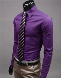 camicie formali sottili da uomo Sconti Camicia da uomo elegante casual in cotone girocollo slim fit manica lunga 1 pezzo Camicie camicie da uomo