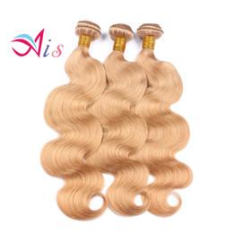 miel color de pelo rubio teje Rebajas Miel Rubia Brasileña Paquetes de pelo Onda del cuerpo o tejido recto 27 Color Rubia Paquetes de cabello humano Pelo virgen