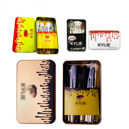 Wholesale Wholesale Makeup Brush Tops - TOP!Kylie Jenner Makeup Brushes Kit 12pcs set Cosmetic Foundation BB Cream Powder Blush Makeup Tools With Iron box Free DHL
