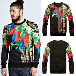 2019 hoodies de plumes 3D Mall Printemps Sweatshirt Paris Top Design Coloré Plumes Colorées Feuilles Chaînes D'or Chaînes Medusa Cool Motif Slim Sweat à Capuche Hommes M-2XL hoodies de plumes pas cher