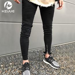 Jeans déchirés au genou noir en Ligne-NOUVEAU 2018 Hommes Genou Zipper Destroyed Jeans Hommes Skinny Stretch Mode Déchiré Designer Crayon noir bleu Biker Hommes Jeans Joggers