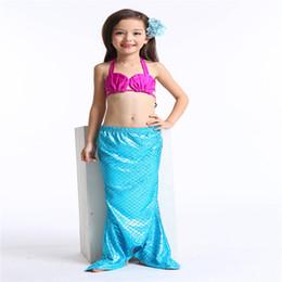 Wholesale Girls Swimsuit 3pcs - Girl Mermaid Swimwear 3PCS SET Swimsuit Bikini Swim Kids Two-Pieces Swimwear Bathing Suit Beach Wear DDA40