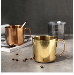 Wholesale Clear Glass Tea Cup Wholesale - 14oz Wine Glass Cup With Handle & Crystal Clear Lids 400ml Stainless Steel Double Wall Vacuum Insulated Beer mugs Coffee tea mugs