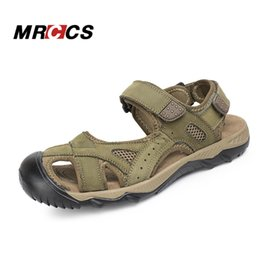 Wholesale gingham style - MRCCS Big Size 39-48 Genuine Leather Men's Summer Sandals,Rome Style Comfortable Casual Shoes,Hook & Loop & Toe Protect Design