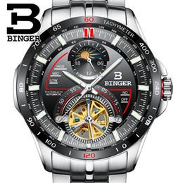 Wholesale Binger Watches - Genuine Luxury Switzerland BINGER Men outdoor multi-functional sapphire full steel waterproof watch Calendar Racing series