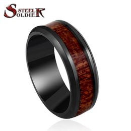 Wholesale inside bar - Wholesale- Steel soldier black ring with dark red wood inlay inside ring men unique fashion engagement jewelry