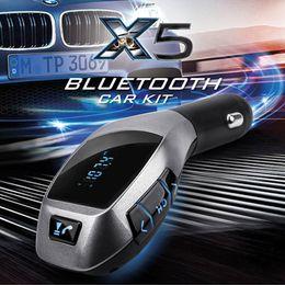 Argentina Car Kit X5 Bluetooth Manos libres Transmisor FM Kit de coche Reproductor de música MP3 Adaptador de radio Trabajo con TF Tarjeta U Disco para iPhone Samsung Suministro