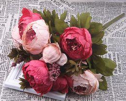 2 PCS 18 Couleurs 13 Têtes Bouquet 50 cm Pivoine Soie Faux Fleurs Artificielles Plantes Centres De Mariage Parti Fleur Mur Décoration ? partir de fabricateur