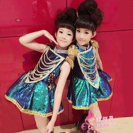 2019 vestidos modernos Día de año nuevo Jazz para niños Rendimiento Brillo Niñas Baile moderno Vestidos de hojaldre Disfraces Ropa para pasarelas para niños vestidos modernos baratos