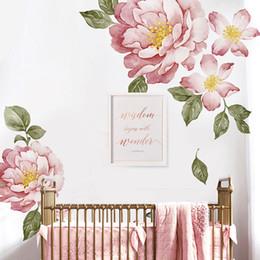 Arte vintage do bebê on-line-Peônia Flores Adesivo de Parede Vintage Aquarela Casca e Vara pintura Removível Adesivos modernos Home decor art diy bebê quarto