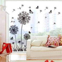 Adesivi volanti della farfalla online-Butterfly Flying In Dandelion Bedroom Style Wall Stickers Design originale 2017 PVC Stickers murali Adesivi murali sfondo