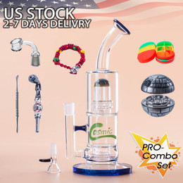 Wholesale Showerhead Set - Bong Glass Bong Bongs COMBO SET USA STOCK 12'' Water Pipe With Showerhead Diffuser in Base Matrix Diffuser Perc 2-7 Days Delivery WP0013P