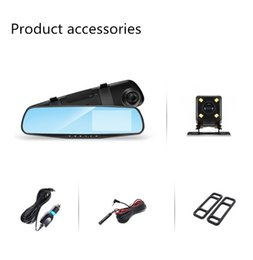 Wholesale Rearview Mirror Led Parking Sensor - Factory special price mirror vehicle recorder 4.3 inch gold side high definition night vision double lens inverted image parking,Car DVR