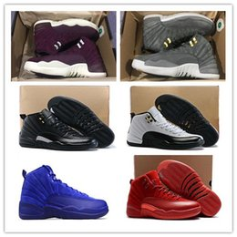 Wholesale red suede trainers - Wholesale 12 Bordeaux Basketball Shoes Men Sport Shoe Bordeaux 12s TAXI Playoff BLAck Suede Sports Athletic Trainers High Quality Sneakers