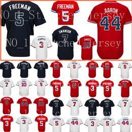 Wholesale Cheap Army Men - Atlanta #5 Freddie Freeman jersey Men's 44 Hank Aaron 10 Chipper Jones Baseball jerseys Cheap wholesale Free Shipping