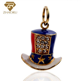 Wholesale Tile Necklaces - 925 Sterling Silver Pandora Charm with Tile hat Enamal Charm Fit Pandora Bracelet & Bangle And Necklace P2131