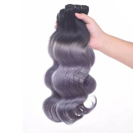 human hair body waves two tone Coupons - Ombre Brazilian Human hair Body wave 1B Dark Grey Two Tone Hair Bundles Peruvian Brazilian Indian Hair Extensions