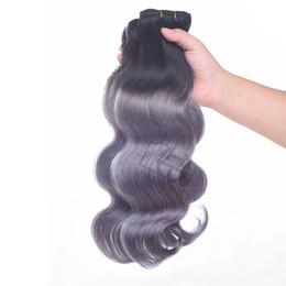 Ombre Brezilyalı İnsan saç Vücut dalga 1B Koyu Gri Iki Ton Saç Paketler Perulu Brezilyalı Hint Saç Uzantıları cheap 12 inch ombre peruvian hair extensions nereden 12 inç ombre peru saç uzantıları tedarikçiler
