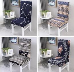 chaises spandex Promotion Spandex Élastique Impression À Manger Chaise Couverture Amovible Anti-sale Cuisine Siège Cas Stretch Chaise Couverture pour Banquet