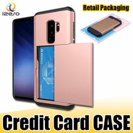 Capa da corrediça do iphone on-line-SGP Slot Para Cartão Slot Case Dual Layers À Prova de Choque Carteira Capa Protetora Do Telefone para o iphone 11Max Samsung Nota 10 S9 Note8 com Embalagem de varejo