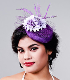 Accessori di capelli dei fiori di seta di cerimonia nuziale online-elegante donna Occasioni Cocktail fascinator donne viola seta cappelli di fiori, accessori per capelli della festa nuziale piuma headwearMD16028