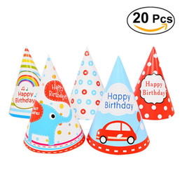 Wholesale Wholesale Kid Paper Hat - 20pcs Party Birthday Hat Diy Paper Hats For Photograph &Kids Birthday  Wedding  Christmas Party Decoration Supplies (Random Style )