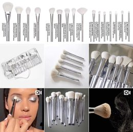 Wholesale Bag Concealer - 2018 NEW JENNER Makeup Brushes Set 16pcs Silver Portable Full Cosmetic Make up Brushes Tool Foundation Eyeshadow Lip brush With Bag