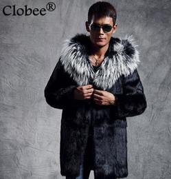 Wholesale Plus Size Mink Coats - 2017 Plus Size Male Faux Fur Outwear Jaqueta Masculina Winter Warm Coat Fur Hooded Coat Medium-long Faux Mink Overcoat D10
