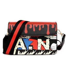Wholesale handbag preppy style messenger bag - 2018 Women handbag Graffiti Handbags Women Simple Shouder Bag Designer tote Wide Strap Handbags High Quality Brands Leather Messenger bag