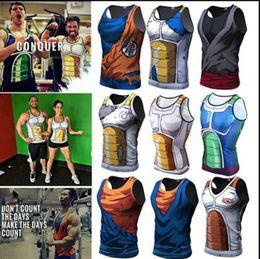 Argentina Verano Camisetas sin mangas para hombre 3D Print Anime Dragon Ball Súper Bodybuilding chaleco sin mangas Tops delgado Fitness KKA5769 cheap tank hombre Suministro