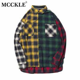 Chaqueta de bloque online-MCCKLE unisex Color Block Patchwork Plaid Chaqueta de manga larga Hombres Hip Hop Casual Bolsillo con botones Camisas Abrigos Moda Streetwear