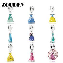 Deutschland ZOUDKY echtes Sterlingsilber-schöne Prinzessin Dress Charm Beads Fit Women Pendant Necklace Bracelet 100% 925 Freies Verschiffen Versorgung