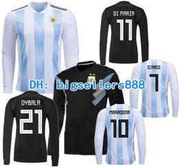 Wholesale argentina football shirt soccer - TOP QUALITY 2018 World Cup MESSI Argentina home soccer jersey DYBALA Long sleeves AGUERO DI MARIA HIGUAIN ICARDI BIGLIA away football shirts