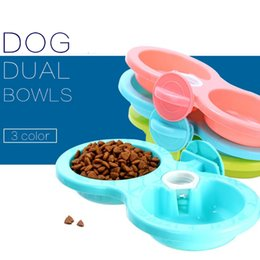 Wholesale candy drinks - 3 Colors Hanging Dog Feeder Dual Bowl Pets Plastic Food Feeding Water Drinking Feeder Puppy Candy Color NNA98