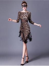 dança trajes valsa Desconto Mulheres Leopard de dança de salão vestido rumba dança valsa tango espanhol de flamenco meninas padrão borlas latino-saia trajes modernos