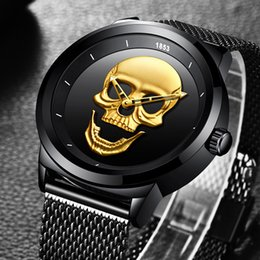Wholesale cool skeleton watches - 2018 LIGE Top Brand Cool Punk Style Pirate Skeleton Skull Quartz Mens Watches Full Tteel Sports Black Watch Relogio Masculino
