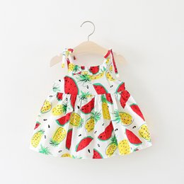 Wholesale little korean girl clothes - Special Offer Girls Fruit Braces Dresses Summer 2018 Kids Boutique Clothing Korean 1-4T Little Girls Cotton Fruit Printed Dresses