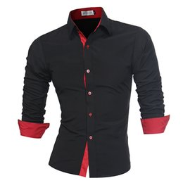 Polsini colorati camicie casual online-BOLUBAO Uomo Camicia a maniche lunghe da uomo casual di marca Slim Fit polsino camicia camicia uomo tinta unita Top
