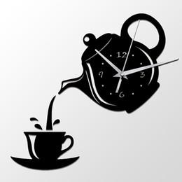 Schwarze teekannen online-Kreative DIY Acryl Kaffeetasse Teekanne 3D Wanduhr Dekorative Küche Wanduhren Wohnzimmer Esszimmer Wohnkultur Uhr