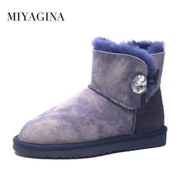 Wholesale shoe shaped buttons - Hot Sale High Quality Women 100% Genuine sheepskin Snow Boots Natural Fur Women boots Warm Winter Ankle Shoes