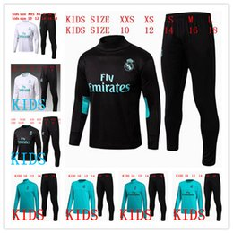 Wholesale boys black pants - kids Real Madrid TRACKSUIT soccer chandal BLACK football tracksuit 2017-2018 training suit pants High collar Sportswear