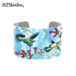 hummingbird gifts Coupons - 2018 Trendy Hummingbird Jewelry Cuff Bracelet Wide Metal Bangle With Humming Birds