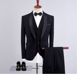 Wholesale mens dress burgundy suit - New Men Suit Slim Party Dress Groomsmen Tuxedo For Beach Wedding Young Mens Daily Work Wear(Jacket+Pants+Tie)