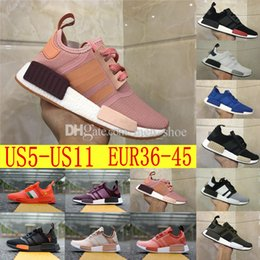 Wholesale Fall Fashion Collection - 2018 Hot SELL Fashion Sneakersnstuff NMD Datamosh Pack Collection R1 Primeknit Runner NMD R1 PK Tri-Color Pack Men Womens Shoes Size 36-45